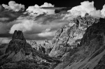 mountain, dolomites, storm, clouds, hut, bnw, italy, 2011, Italy, photo