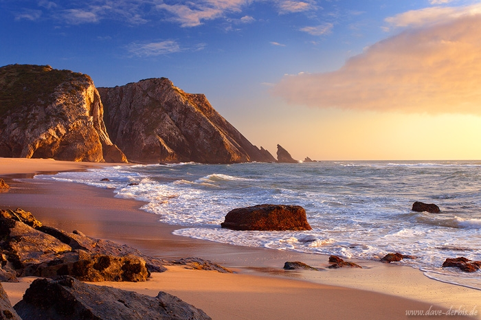 sunset, beach, rugged, coast, ocean, atlantic, portugal, 2016, photo