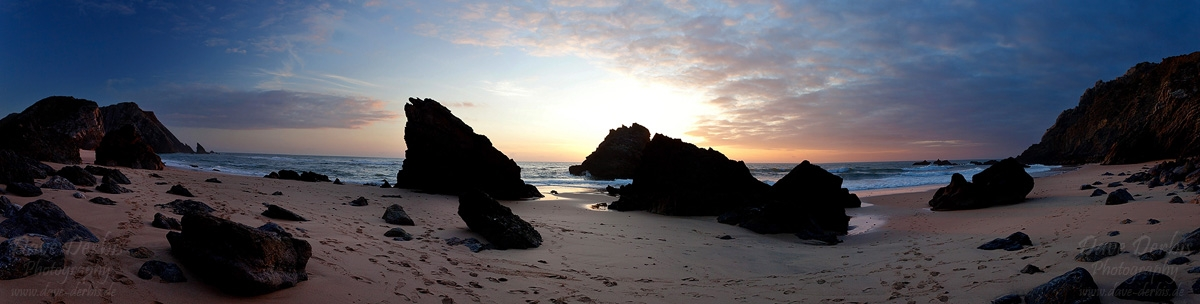 panorama, sunset, adraga, beach, rugged, portugal, 2012, photo