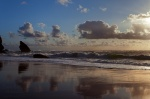 sunset, beach, rugged, twilight, coast, ocean, mirror, atlantic, 2012, portugal, photo