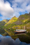 lake, reflection, boats, rugged, arctic, mountains, lofoten, summer, norway, 2017, Norway, photo