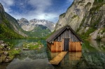 obersee, königssee, berchtesgaden, lake, reflection, nationalpark, hut, flooded, hütte, berg, schneebedeckt, blau, himmel, blue, sky, germany, photo
