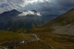 mountain, stream, alpine, sunbeams, clouds, trail, pass, swiss, 2012, photo