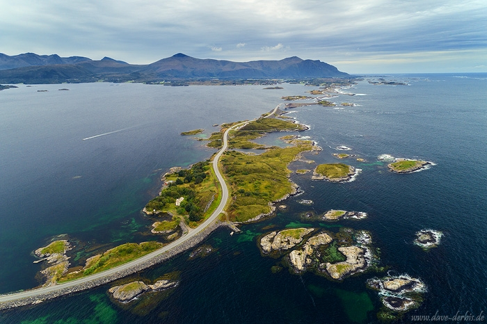 aerial, drone, coast, road, summer, from above, norway, 2019, photo