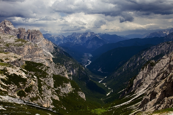 mountain, valley, storm, clouds, dolomites, italy, 2011, photo