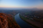 autumn, sunset, fog, river, stream, saxon switzerland, saxony, bastei, lilienstein, elbe, germany, 2012, photo