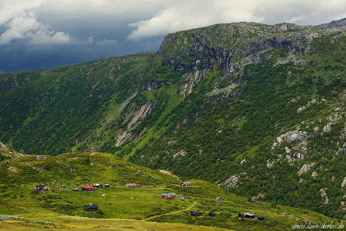 mountain, waterfall, summer, highlands, village, huts, norway, 2017, photo