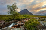 sunset, glencoe, highlands, mountain, scotland, stream, photo