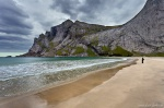 beach, mountain, lofoten, norway, remote, person, Hiking Bunes Beach, photo