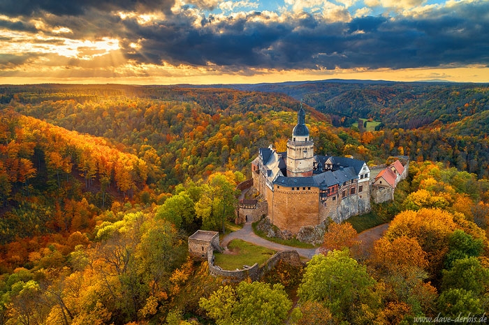 sunset, golden hour, harz, drone, mountains, castle, forest, fall, autumn, germany, 2020, photo