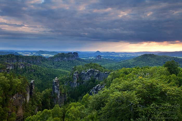 sunset, valley, summer, saxon switzerland, forest, mountain, view, germany, photo