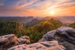 sunset, sun, summer, mountains, forest, view, rugged, saxon switzerland, germany, 2016