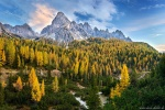 sunset, mountains, dolomites, autumn, fall, foliage, rugged, alps, italy, 2018