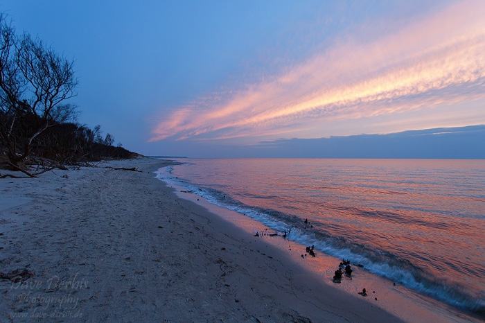 sunset, beach, baltic sea, pink, clouds, ocean, shore, germany, photo