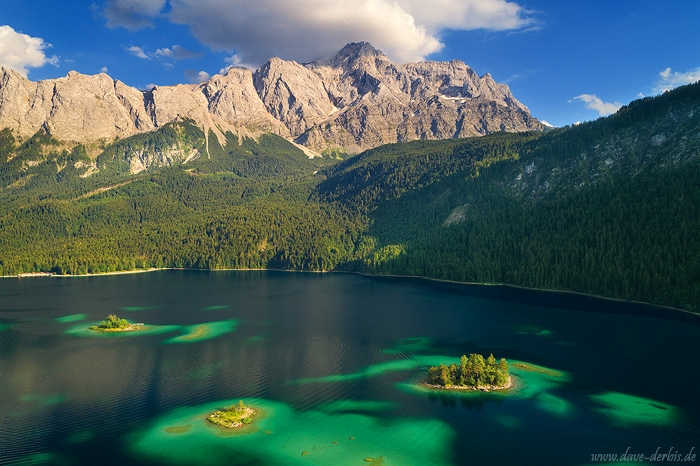 golden hour, mountains, light, sunset, alps, lake, drone, eibsee, reflection, island, germany, 2018, photo