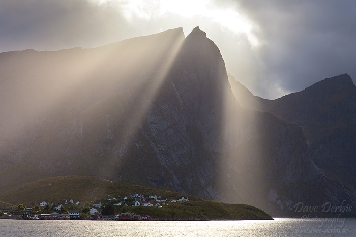sunbeams, mountain, rugged, storm, reine, reinefjorden, lofoten, norway, 2013, photo
