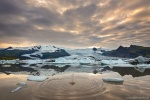 sunset, glacier, bay, ice, fjallsarlon, mountains, iceberg, iceland, 2016, photo