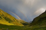 mountain, rainbow, storm, pass, trail, valley, sunset, 2012, swiss, kirsten, Switzerland, photo