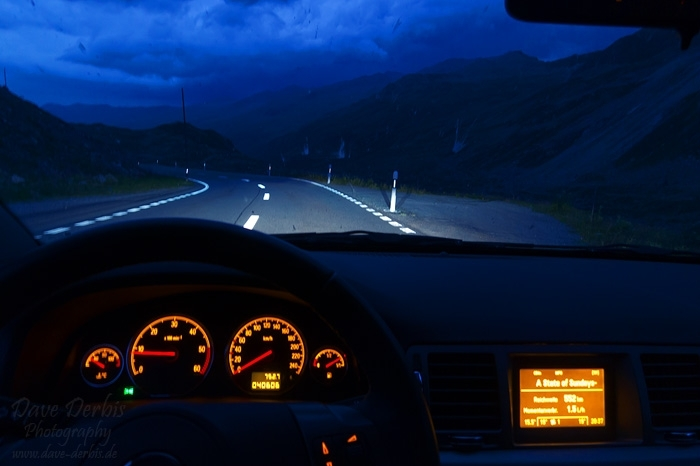 fluela, pass, driving, roadshot, blue hour, swiss, 2012, photo