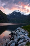 sunset, mountain, fjord, reflection, snow, norway, 2015, latest, Norway, photo