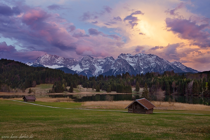 sunset, mountain, lake, alps, bavaria, snow, hut, meadow, germany, photo