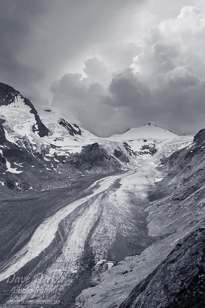 glacier, snow, hohe tauern, national park, alps, mountain, austria, grossglockner, bnw, photo