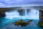 waterfall, falls, highlands, godafoss, river, spray, blue hour, iceland, 2016, photo