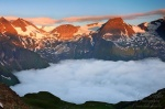 sunrise, alpes, mountain, twilight, clouds, alpen, hohe tauern, austria, photo