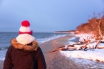 greetings, sunset, beach, winter, snow, kirsten, baltic sea, darss, weststrand, germany, 2015
