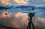 greetings, from, sunset, bay, glacier, jökulsarlon, camera, iceland, 2016