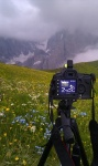 greetings, sunset, dolomites, meadow, mountain, camera, photo