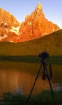 greetings, sunset, dolomites, reflection, mountain, alpenglow, camera, photo