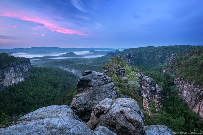 sunset, fog, blue hour, summer, mountains, forest, view, rugged, saxon switzerland, germany, 2016, photo