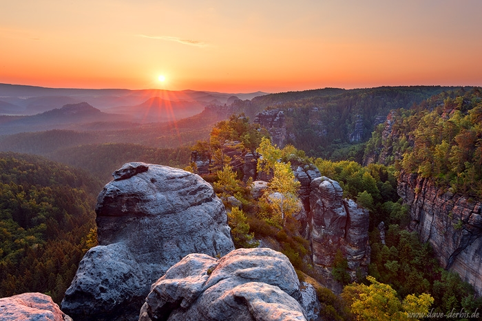 sunrise, mountains, valley, forest, saxon switzerland, sun, sunstar, germany, 2018, photo