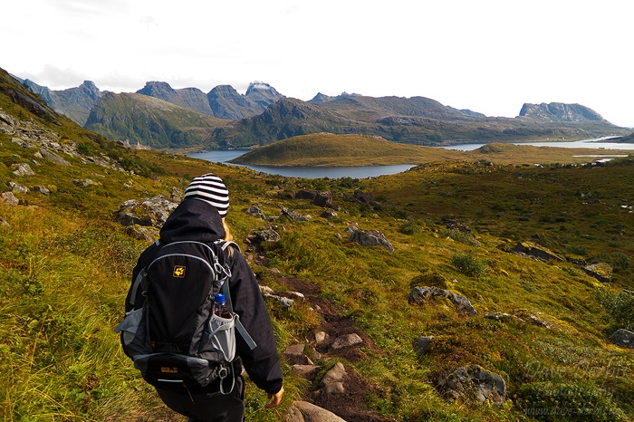 hiking, kvalvika, beach, lofoten, norway, 2013, kirsten, photo