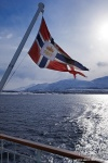 norway, boat, fjord, mountain, snow, flag, hurtigruten, photo