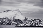 norway, boat, fjord, mountain, snow, hurtigruten, bnw, photo