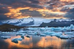 sunset, icebergs, glacier, bay, joekulsarlon, mountains, iceland, 2016, photo