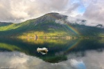 fjord, lake, mountains, reflection, summer, boat, rainbow, norway, 2017, Norway, photo