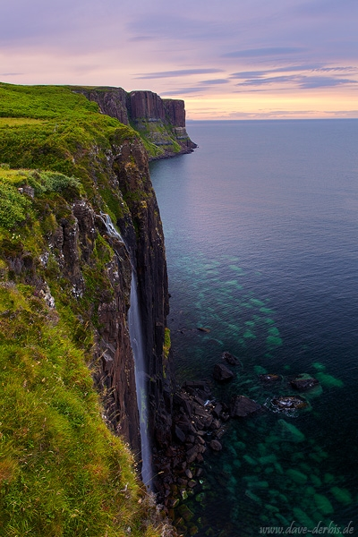 waterfall, skye, summer, sunset, cliff, scotland, 2014, photo