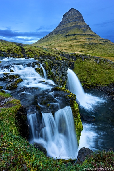 waterfall, falls, mountain, cascade, blue hour, rain, iceland, 2016, photo