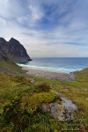 beach, kvalvika, rugged, ocean, norway, lofoten, mountain, photo