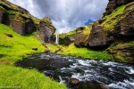 kvernufoss, waterfall, paradise, rainbow, cliff, cave, canyon, iceland, 2017, photo