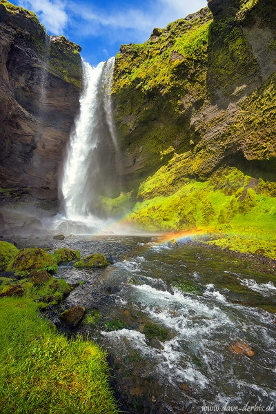 kvernufoss, waterfall, paradise, rainbow, cliff, cave, iceland, 2017, photo