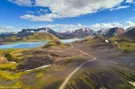 highlands, mountains, landmannalaugar, moss, volcanic, drone, above, iceland, 2017, photo