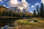 lake, sunset, autumn, fall, trees, mountains, alpes, dolomites, italy, 2015, latest, photo
