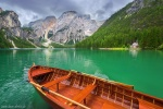 lake, alpine, summer, mountains, boat, dolomites, italy, 2016, Italy, photo