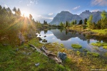 sunset, sunstar, golden hour, mountains, summer, alpine, lake, reflection, dolomites, italy, 2016, Italy, photo