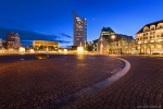leipzig, sunset, blue hour, tower, downtown, city, germany, 2016, photo