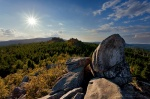 harz, sunset, sunstar, brocken, cliff, leistenklippe, forest, highland, germany, Wanderung zur Leistenklippe, photo